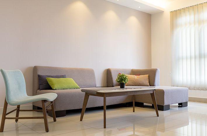 Voorbeeld woonkamer met LED